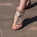 preiswerte Körperschmuck-Damen Perlen Quaste Barfußsandalen Künstliche Perle Tropfen Retro Fusskettchen Schmuck Gold / Silber Für Alltag Normal / Strass
