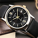 levne Módní náhrdelníky-Pánské Módní hodinky Křemenný Kůže Černá / Hnědá Analogové Na běžné nošení - Bílá Černá
