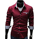 cheap Men's Shirts-Men's Work Business Plus Size Cotton Slim Shirt - Solid Colored Basic Classic Collar / Long Sleeve / Spring / Fall