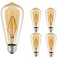 hesapli LED Spot Işıkları-5pcs 4W 360lm E26 / E27 LED Filaman Ampuller ST64 4 LED Boncuklar COB Dekorotif Sıcak Beyaz 220-240V