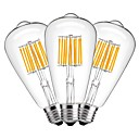 hesapli Samsung İçin Ekran Koruyucuları-3adet 10W 1000lm E27 LED Filaman Ampuller ST64 10 LED Boncuklar COB Dekorotif Sıcak Beyaz 220-240V
