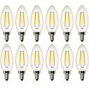 hesapli Kolyeler-12PCS 4W 400 lm LED Filaman Ampuller C35 4 led COB Kısılabilir Dekorotif Sıcak Beyaz AC 220-240 AC 110-130 V