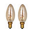 hesapli LED Gömme Işıklar-ONDENN 2pcs 3W 300lm E14 LED Filaman Ampuller C35 1 LED Boncuklar COB Kısılabilir Sıcak Beyaz 220-240V