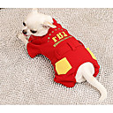 cheap Dog Clothing & Accessories-Dog Jumpsuit Dog Clothes Letter & Number Red Fabric Down Costume For Spring &  Fall Winter Casual / Daily