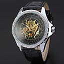 זול אביזרי שעון-WINNER בגדי ריקוד גברים שעוני שלד שעון יד שעון מכני אוטומטי נמתח לבד עור שחור 30 m חריתה חלולה מגניב אנלוגי קלסי יום יומי - לבן שחור