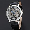 hesapli Erkek Saatleri-WINNER Erkek Bilek Saati Mekanik manual-hareketli 30 m Derin Oyma Havalı Deri Bant Analog Vintage Günlük Moda Siyah - Beyaz Sarı Altın / Gümüş / Paslanmaz Çelik