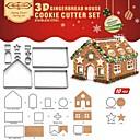 billige Utstyr til kaffe-Bakeware verktøy Rustfritt Stål + A-klasse ABS Jul Til Småkake Pieverktøy 1set