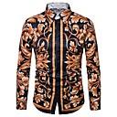billige T-shirts og undertrøjer til herrer-Spredt krave Tynd Herre - Blomstret Trykt mønster Skjorte Guld / Langærmet