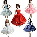 hesapli Barbie Bebek Kıyafetleri-Parti / Gece Elbiseler İçin Barbie Bebek Dantel Saten Elbise İçin Kız Oyuncak bebek
