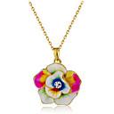 hesapli Eşarplar ve Şallar-Kadın's Kristal Uçlu Kolyeler - Kristal, Altın Kaplama Çiçek / Botanik, Çiçek Moda Gökküşağı Kolyeler Mücevher 1 Uyumluluk Parti, Resmi