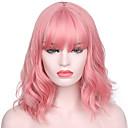 ieftine Binocluri-Peruci Sintetice Val de Apă Kardashian Stil Cu breton Fără calotă Perucă Pink Roz Păr Sintetic Pentru femei Linia naturală de păr / Cu Bangs Pink Perucă Scurt