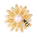 hesapli Küpeler-Kadın's Broşlar - Altın Kaplama Çiçek, Bal Arısı Moda Broş Gümüş / Altın Uyumluluk Gece Partisi / Balo