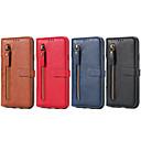 billige Trådløse ladere-Etui Til Apple iPhone X / iPhone 8 Plus / iPhone 8 Lommebok / Kortholder / med stativ Heldekkende etui Ensfarget Hard PU Leather