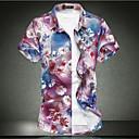 رخيصةأون صيني-رجالي شاطئ أساسي قياس كبير - قطن قميص, ورد ياقة كلاسيكية نحيل / كم قصير / الربيع / الصيف