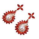 저렴한 귀걸이-여성용 모조 큐빅 드랍 귀걸이 - 크리스탈, 모조 진주, 지르콘 패션, 대형 레드 / 블루 / 라이트 브라운 제품 파티 / 데이트