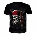 저렴한 반지-남성용 해골 라운드 넥 프린트 - 티셔츠, 베이직 / 짧은 소매