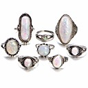 cheap Rings-Women's Opal Geometric Knuckle Ring - Alloy Vintage, Bohemian, Boho Adjustable Silver For Daily Bar / 8pcs