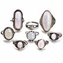 ieftine Colier la Modă-Pentru femei Opal Piatră prețioasă Geometric Inel Aliaj femei Neobijnuit Design Unic Vintage Boem Boho Inele la Modă Bijuterii Argintiu Pentru Zilnic Măr Ajustabil 8pcs