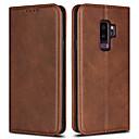 رخيصةأون أغطية أيفون-غطاء من أجل Samsung Galaxy S9 Plus / S8 محفظة / حامل البطاقات / قلب غطاء كامل للجسم لون سادة قاسي جلد PU