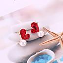 Недорогие Серьги-Жен. 3D Серьги-гвоздики - Искусственный жемчуг Сердце корейский, Милая, Мода Бижутерия Серый / Красный Назначение Повседневные / 1 пара