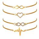 ieftine Brățări-4 buc Pentru femei Brățări cu Lanț & Legături Inimă Ritm Cardiac femei Clasic Modă Placat Auriu Bijuterii brățară Auriu Pentru Zilnic Birou și carieră