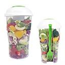 preiswerte Kochutensilien & Zubehör-frische Salat Tasse Container Portion Tasse Shaker mit Dressing Container Gabel Lebensmittel Lagerung