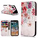 저렴한 아이폰 케이스-케이스 제품 Apple iPhone X / iPhone 8 Plus 지갑 / 카드 홀더 / 스탠드 전체 바디 케이스 꽃장식 하드 PU 가죽 용 iPhone X / iPhone 8 Plus / iPhone 8