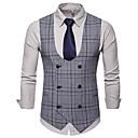 cheap Car Headlights-Men's Daily / Work Business / Basic Fall / Winter Plus Size Regular Vest, Plaid V Neck Sleeveless Cotton / Polyester Dark Gray / Khaki / Light gray XXL / XXXL / 4XL / Business Casual / Slim
