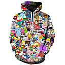 cheap Men's Hoodies & Sweatshirts-Men's Plus Size Active / Exaggerated Long Sleeve Loose Hoodie - 3D / Cartoon Print Hooded Black 4XL / Fall / Winter
