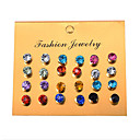 cheap Earrings-Women's Crystal Cubic Zirconia Disco Ball Stud Earrings Earrings Set - Drop Casual / Sporty, Korean, Sweet Rainbow For Birthday Daily Club / 12 Pairs