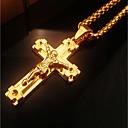hesapli Kolyeler-Kadın's Şık Kalın Zincir Uçlu Kolyeler - Krzyż İfade, Moda, Hiphop Havalı Altın 46 cm Kolyeler Mücevher 1pc Uyumluluk Kulüp, Bar