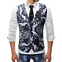 رخيصةأون خواتم-رجالي أسود XXXL XXXXL 5XL Vest قياس كبير أساسي فراشة ألوان متناوبة / حيوان V رقبة نحيل / بدون كم