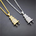 cheap Makeup & Nail Care-Men's Cubic Zirconia Cuban Link Thick Chain Pendant Necklace Rhinestone Plug European Fashion Hip-Hop Cool Gold Silver 70 cm Necklace Jewelry 1pc For Masquerade Street