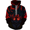 cheap Men's Hoodies & Sweatshirts-Men's Plus Size Long Sleeve Hoodie - 3D Round Neck Red 4XL / Fall / Winter