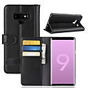 hesapli Galaxy Note Serisi Kılıfları / Kapakları-Pouzdro Uyumluluk Samsung Galaxy Note 9 / Note 8 Cüzdan / Kart Tutucu / Flip Tam Kaplama Kılıf Solid Sert Gerçek Deri için Note 9 / Note 8