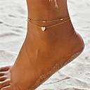 abordables Bijoux Corps-Femme Multirang Yoga Bracelet de cheville Cœur dames Bohème Mode Bracelet de cheville Bijoux Dorée / Argent Pour Cadeau Vacances