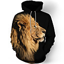 cheap Candles & Candleholders-Men's Plus Size Long Sleeve Hoodie - 3D / Animal Print Round Neck Black L / Fall / Winter