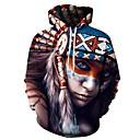 رخيصةأون كنزات هودي رجالي-رجالي رياضي Active قياس كبير بنطلون - هندسي / 3D طباعة التقزح اللوني / مع قبعة / كم طويل / الخريف / الشتاء