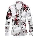 رخيصةأون قمصان رجالي-رجالي أساسي طباعة قياس كبير - قطن قميص, ورد نحيل / كم طويل