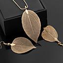 hesapli Takı Setleri-Kadın's Klasik Takı Seti - Leaf Shape İfade, Vintage, Zarif Dahil etmek Halka Küpeler Uçlu Kolyeler Altın / Siyah / Gümüş Uyumluluk Seramoni Gece Partisi
