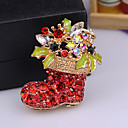cheap Brooches-Men's AAA Cubic Zirconia Classic Brooches - Santa Suits, Shoe Classic, Cartoon, Cute Brooch Red / White / Red For Christmas / Daily