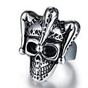ieftine Inele-Bărbați Stil Vintage #D Gravat Band Ring Inel de declarație Oțel titan Craniu Vintage Punk Inele la Modă Bijuterii Negru Pentru Halloween Zilnic Stradă 9 / 10