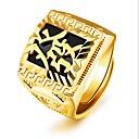 رخيصةأون خواتم-رجالي خاتم ميدي خاتم الخاتم 1PC ذهبي 18K الذهب مربع موضة مناسب للحفلات مناسب للبس اليومي مجوهرات قديم منقوش كوول