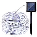 tanie Taśmy świetlne LED-HKV 10 m Łańcuchy świetlne 100 Diody LED Ciepła biel / Zimna biel / Czerwony Wodoodporny / Na energię słoneczną / Impreza Zasilanie solarne 1 zestaw