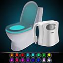 お買い得  LED アイデアライト-hkv®16色ワイヤレス人間の赤外線活性化モーションセンサーpir ledトイレットランプバッテリー駆動夜光ホームバスルーム