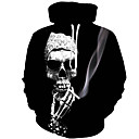 cheap Car Mounts & Holders-Men's Plus Size Long Sleeve Hoodie - Character / Skull Wolf Hooded Black XL / Spring / Fall
