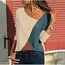 ieftine Rochii de Damă-Pentru femei În V - Mărime Plus Size Tricou De Bază - Bloc Culoare Alb