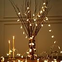 tanie Taśmy świetlne LED-3 M Łańcuchy świetlne 20 Diody LED Ciepła biel Dekoracyjna Zasilanie bateriami AA 1 zestaw