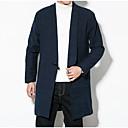 رخيصةأون جواكيت رجالي-رجالي مناسب للبس اليومي الخريف طويلة معطف, لون سادة قبعة القميص كم طويل بوليستر أسود / أزرق البحرية