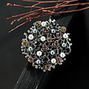ieftine Broșe-Pentru femei Zirconiu Cubic Broșe Petală femei Vintage Culoare Perle Broșă Bijuterii Argintiu / negru Pentru Stradă